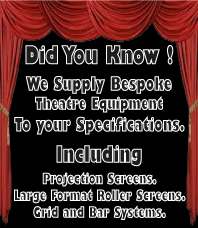 we supply bespoke screens, large format rollers screens, bars systems and curtains.
